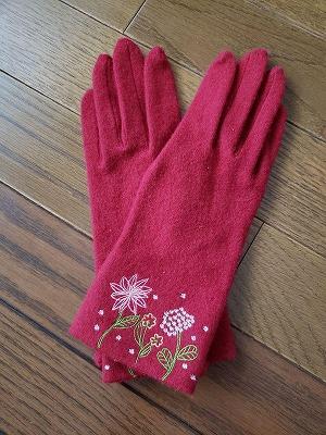 ホコモモラの刺繍つき手袋