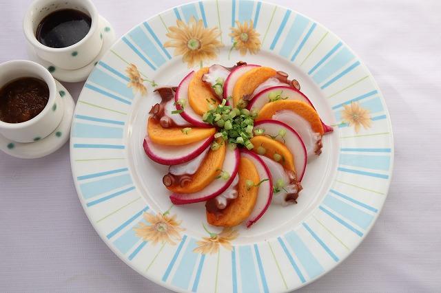 赤かぶと柿とタコのサラダ★バストアップレシピの出来上がり品