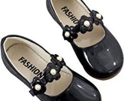 子供用フォーマル靴の黒い花付き。
